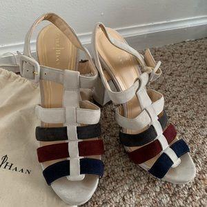 White/multi colored suede platform heels